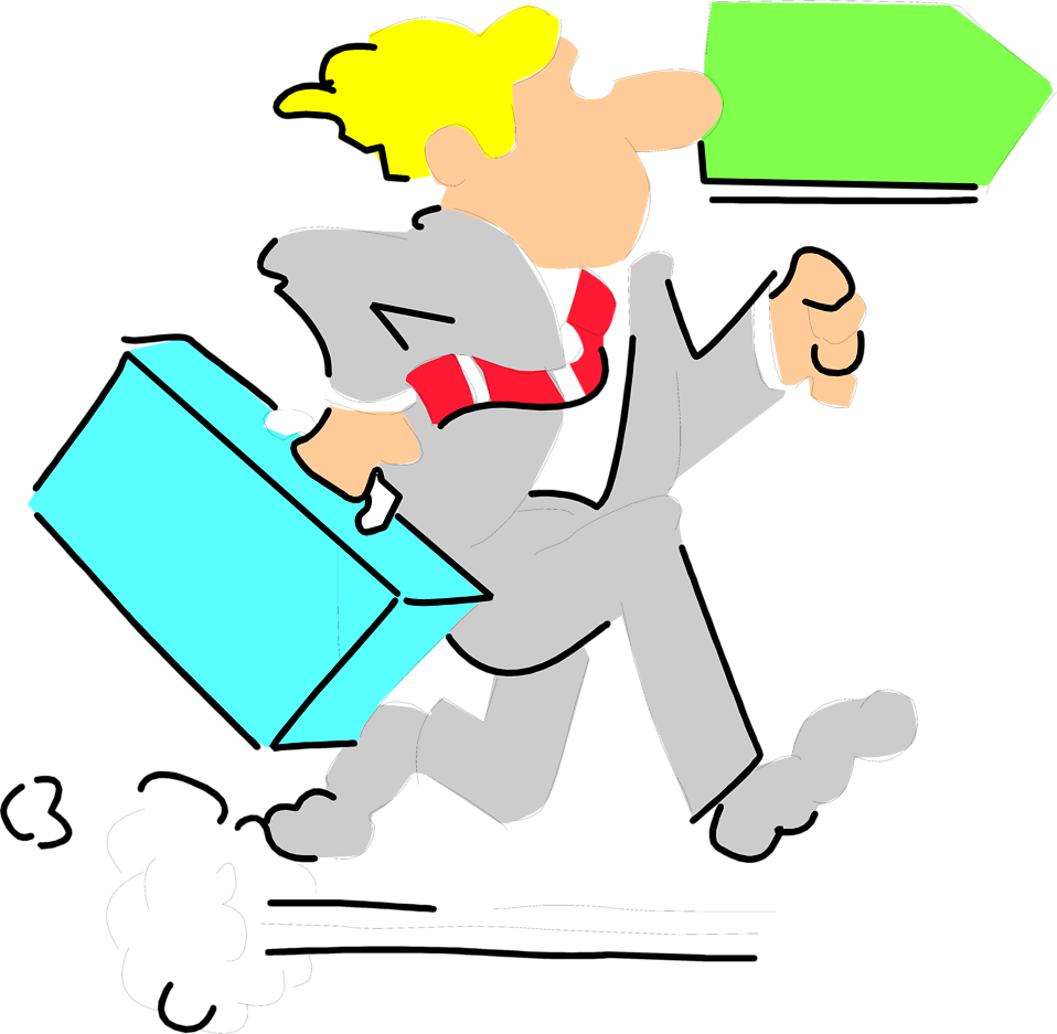 Illustration of a business man running late for work : Free Stock Photo