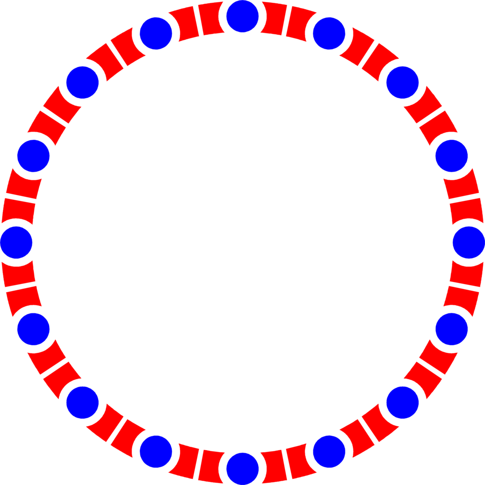 Red and Blue Circle Border Clip Art