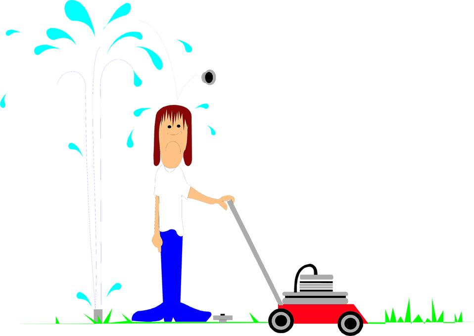 Illustration of a man with a lawn mower and a sprinkler : Free Stock Photo