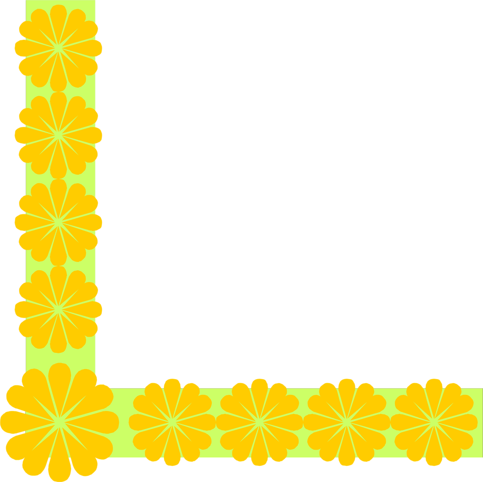 Illustration of a yellow flowered lower left frame corner : Free Stock Photo