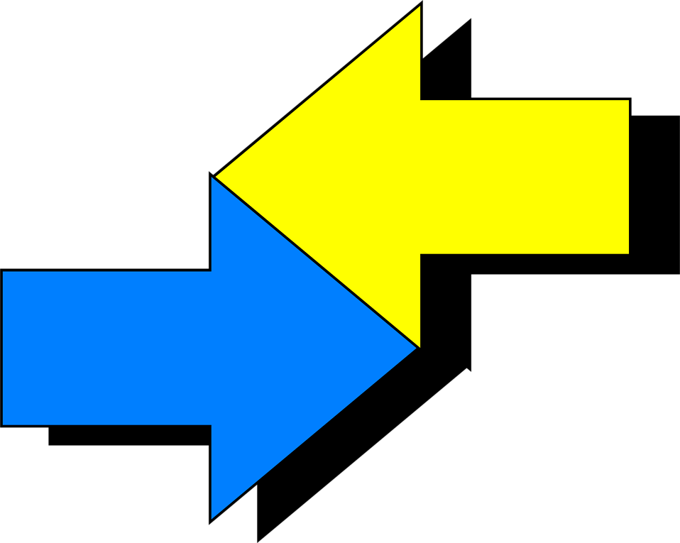 Illustration of intersecting yellow and blue arrows : Free Stock Photo