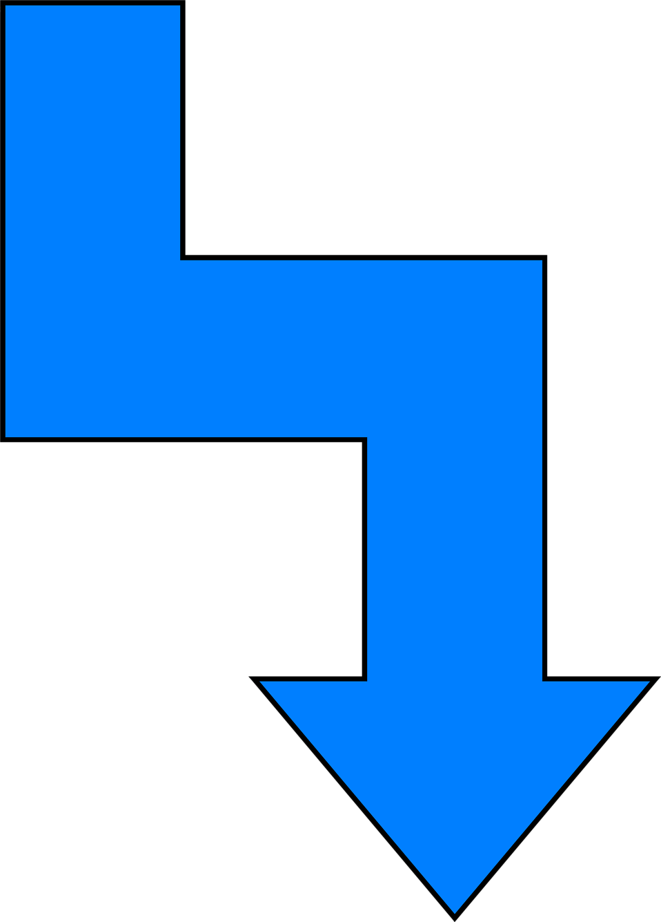 Illustration of a crooked blue down arrow : Free Stock Photo
