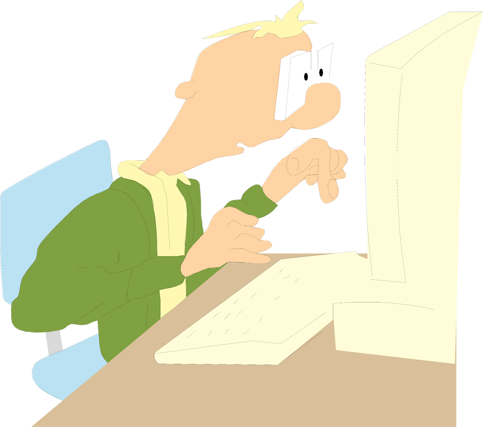Illustration of a man at a computer : Free Stock Photo