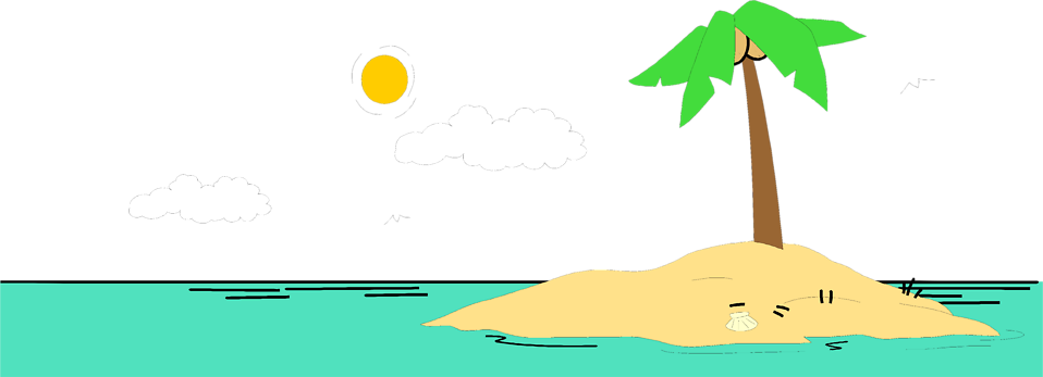 Illustration of a deserted island : Free Stock Photo