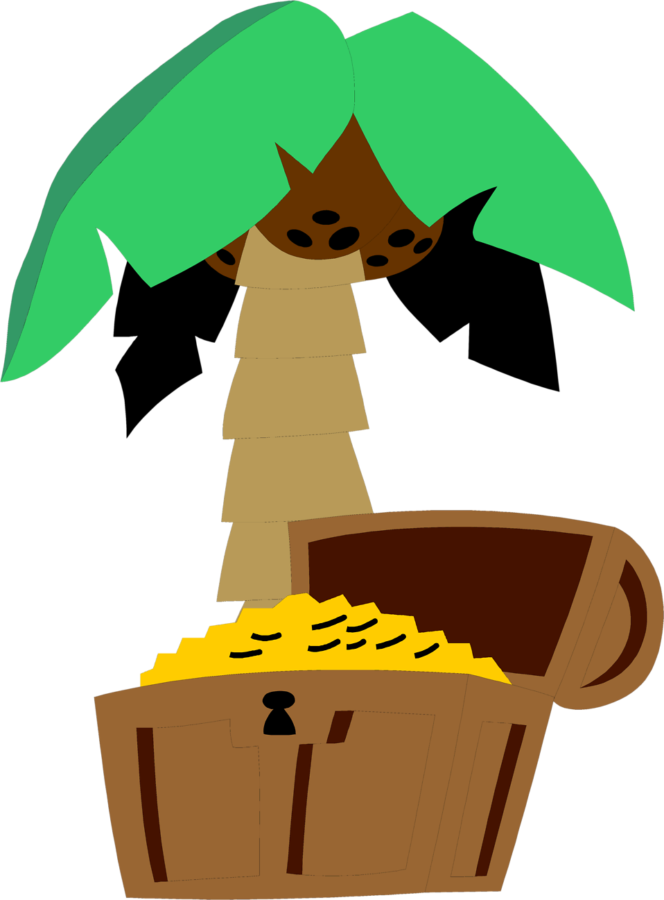 Illustration of a treasure chest and a palm tree : Free Stock Photo