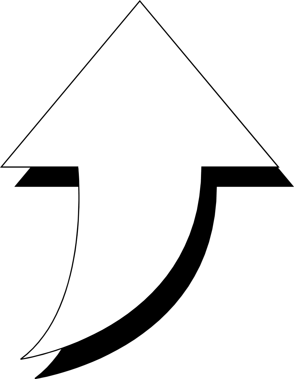 Illustration of a curved up arrow : Free Stock Photo