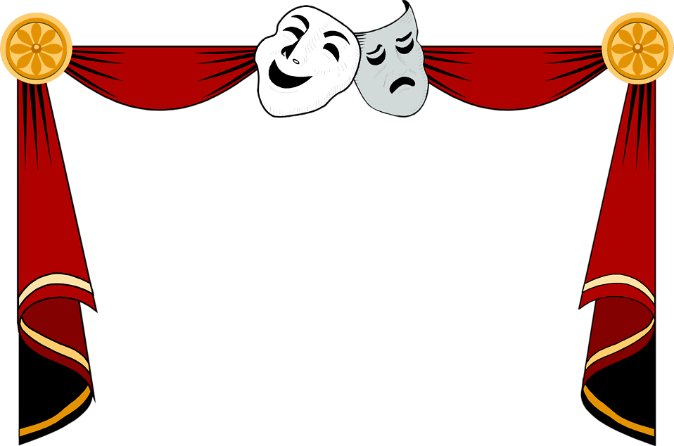 illustration of a drama masks and curtains frame free stock photo