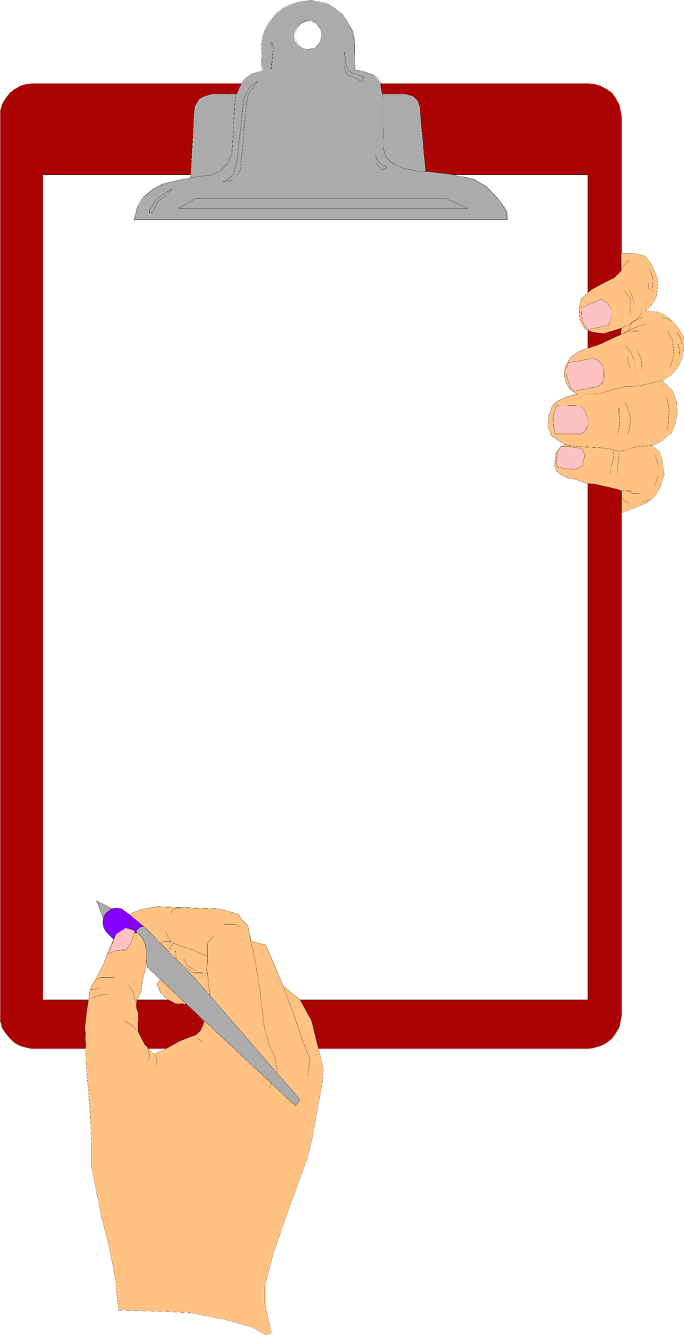 Illustration of hands holding a blank clipboard : Free Stock Photo
