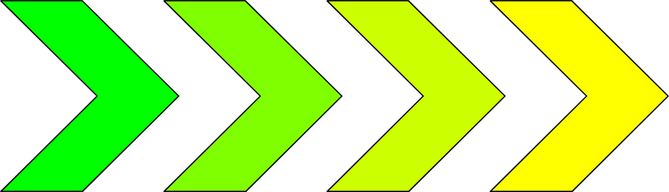 Illustration of green and yellow right arrows : Free Stock Photo