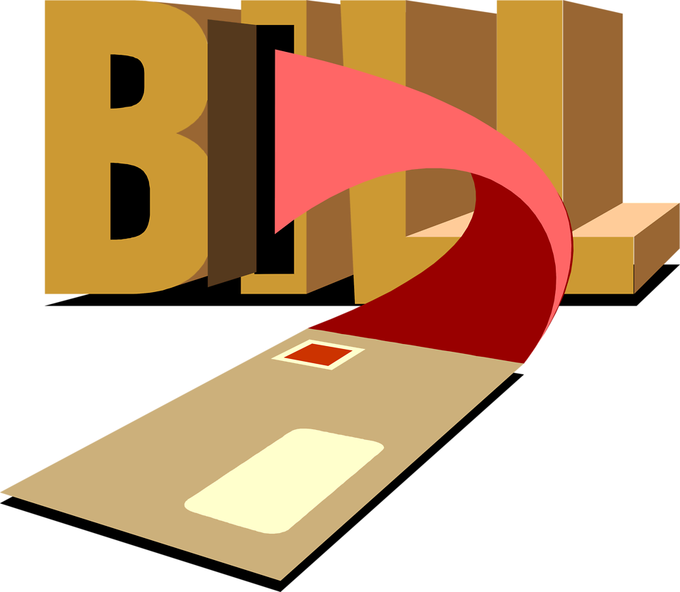 Illustration of a bill arriving in the mail : Free Stock Photo