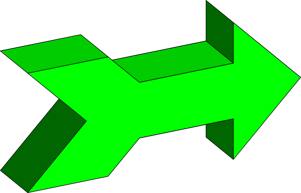 Illustration of a green 3d right facing arrow : Free Stock Photo