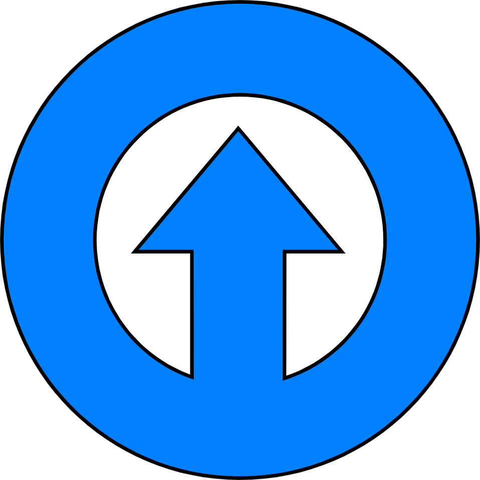 Illustration of a blue up arrow in a circle : Free Stock Photo