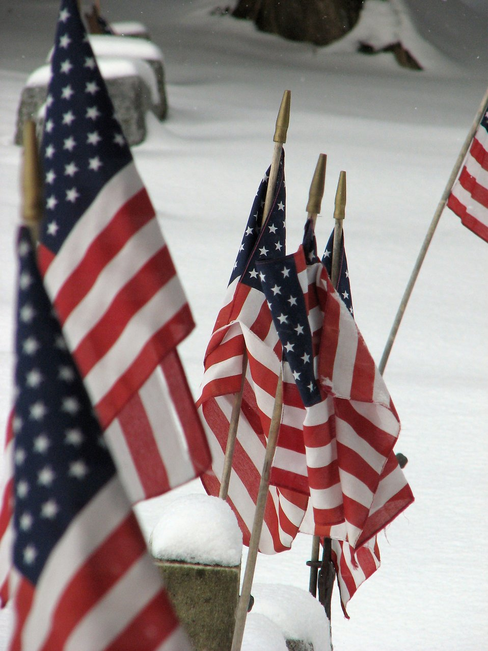 Closeup of a US flags in a snow coverd graveyard : Free Stock Photo
