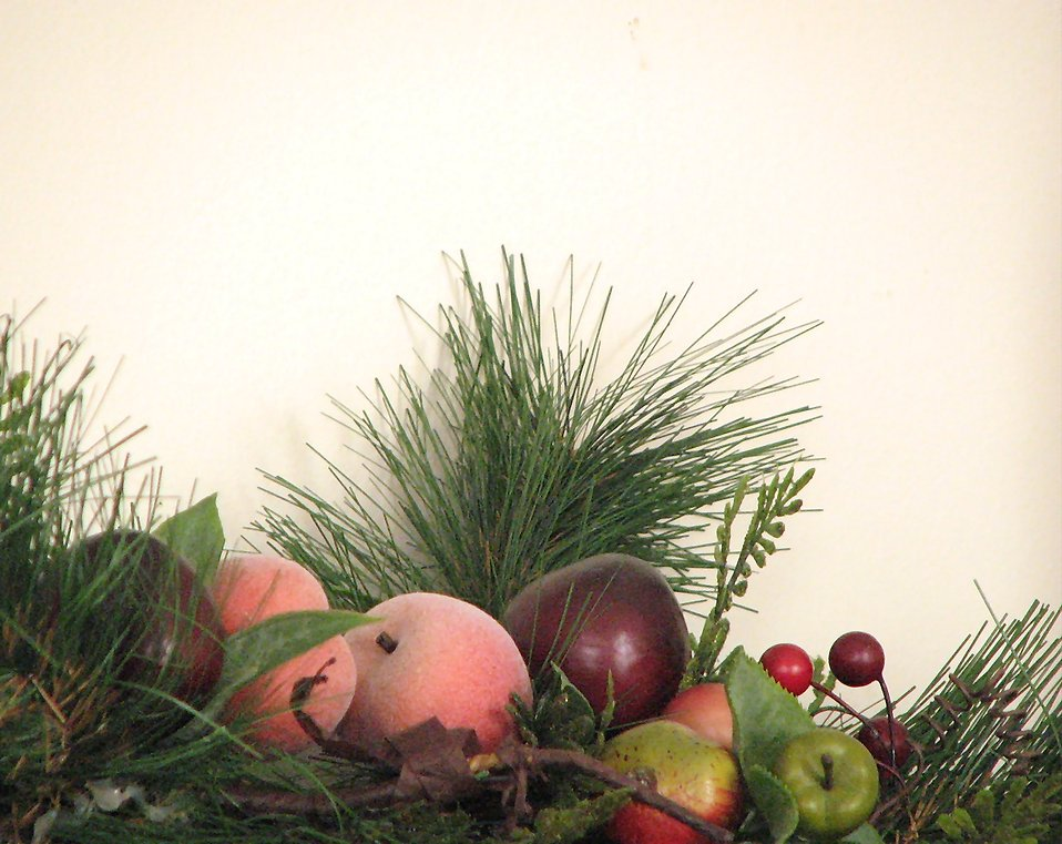 A plastic fruit and pine needle display : Free Stock Photo