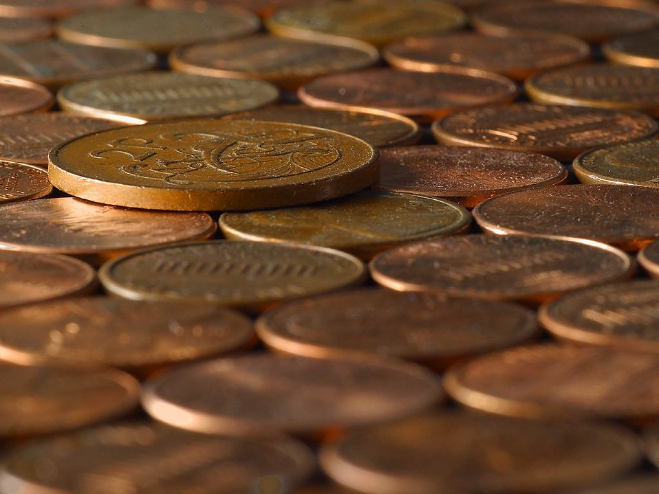Close up of pennies and other coins : Free Stock Photo
