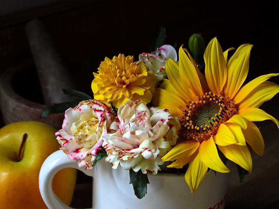 A small bouquet of flowers in a cup.