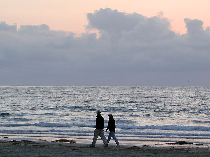 A couple walking along the beach : Free Stock Photo