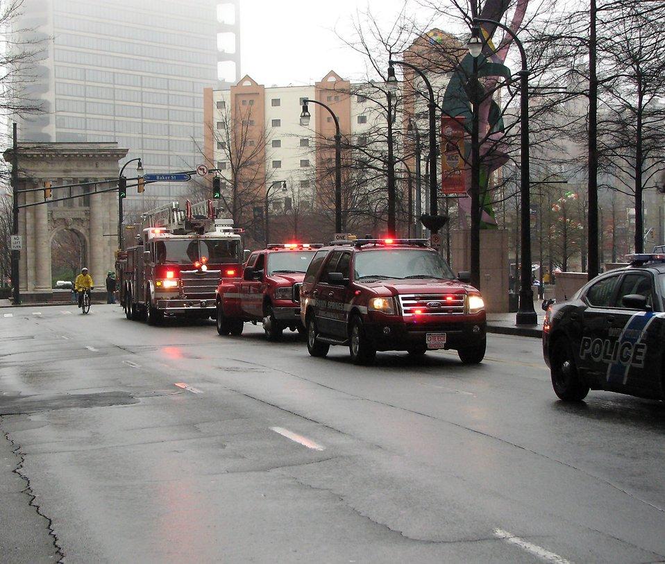 A firetruck and rescue vehicles in the 2009 Atlanta Saint Patricks Day Parade : Free Stock Photo