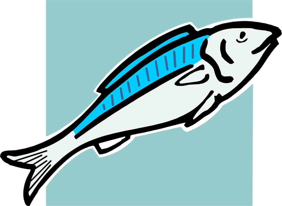 Illustration of a blue fish : Free Stock Photo
