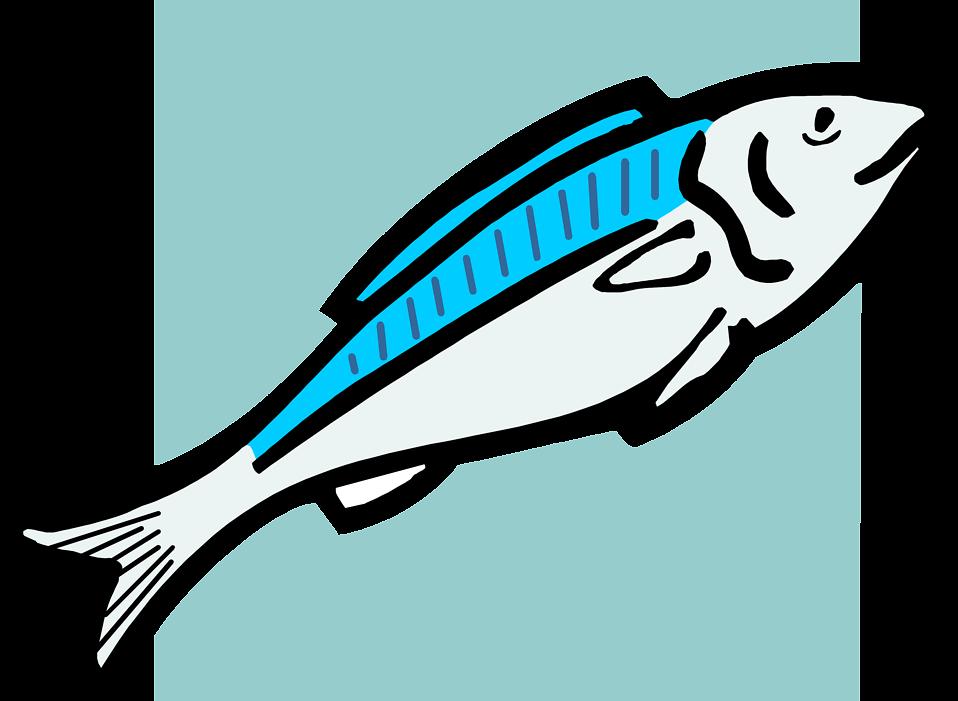 Illustration of a blue fish : Free Stock Photo