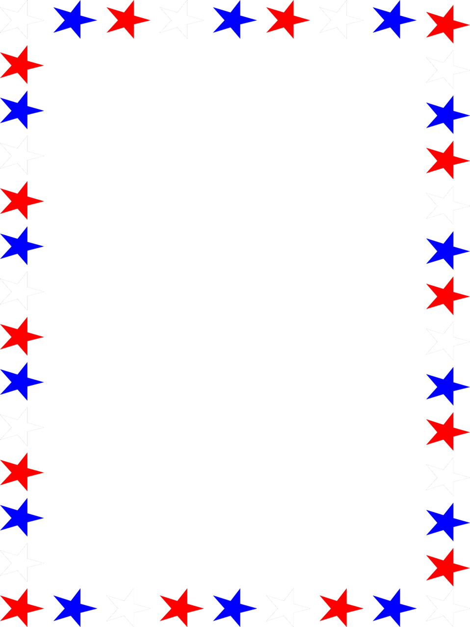Illustration of a blank frame border of red white and blue stars