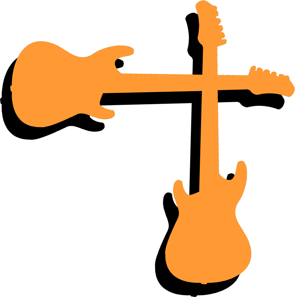 Illustration of an upper right frame corner of orange guitars : Free Stock Photo