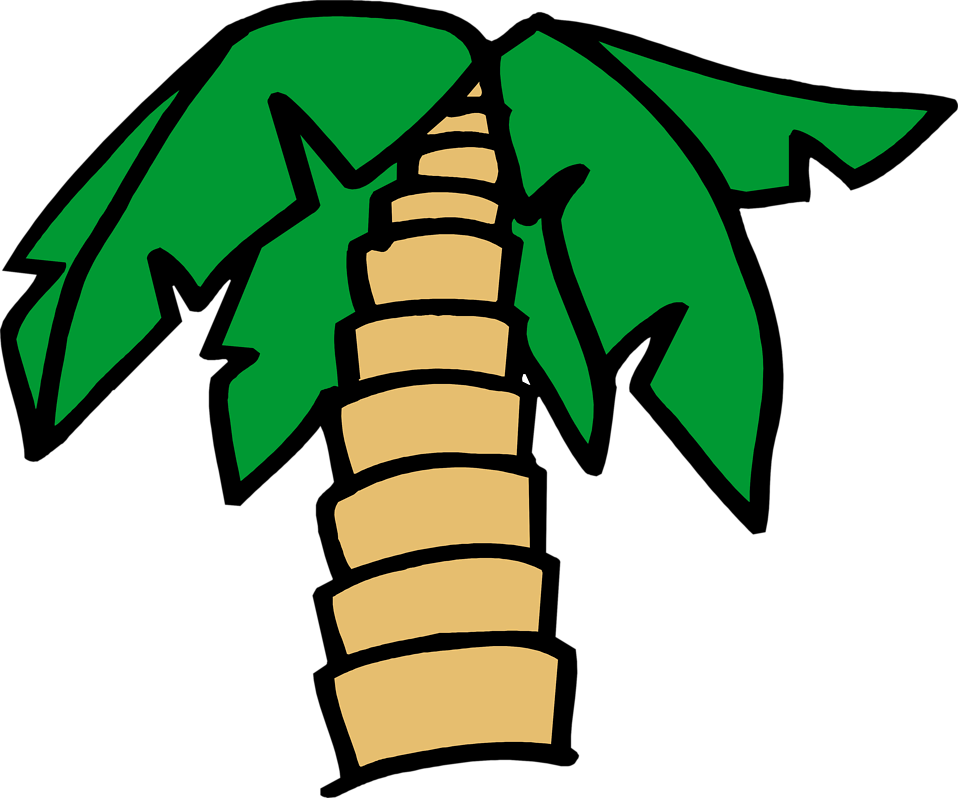 Illustration of a cartoon palm tree : Free Stock Photo