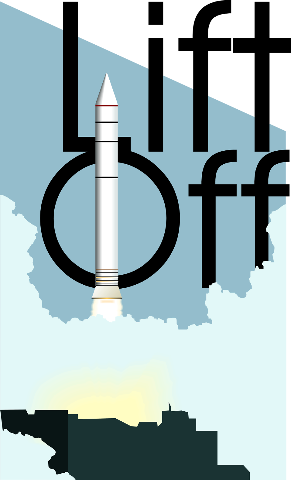 Illustration of a rocket lifting off with text : Free Stock Photo