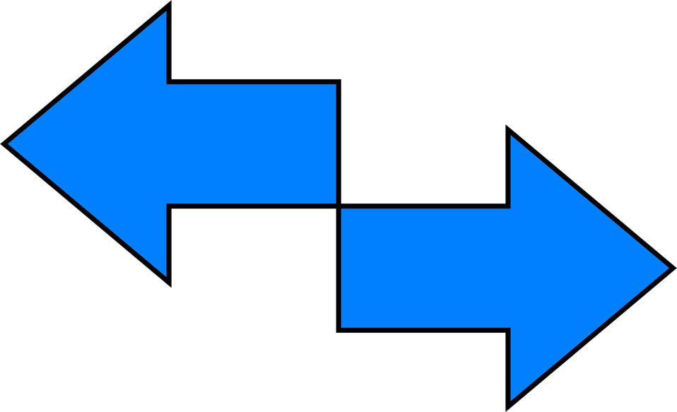 Illustration of blue right and left arrows : Free Stock Photo