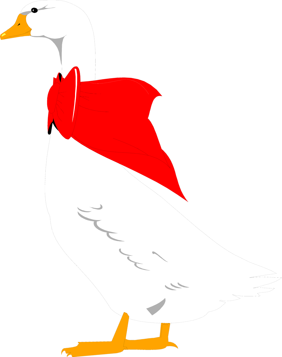 Illustration of a goose with a red bow : Free Stock Photo