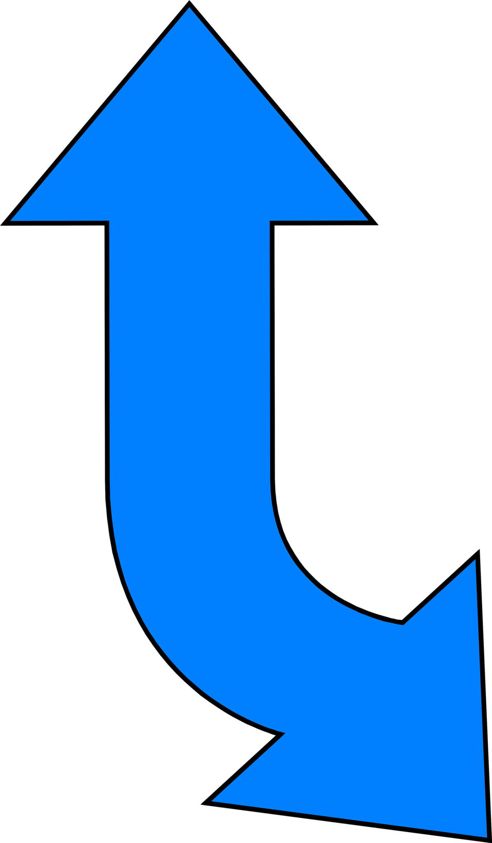 Illustration of a curved up and down blue arrow : Free Stock Photo