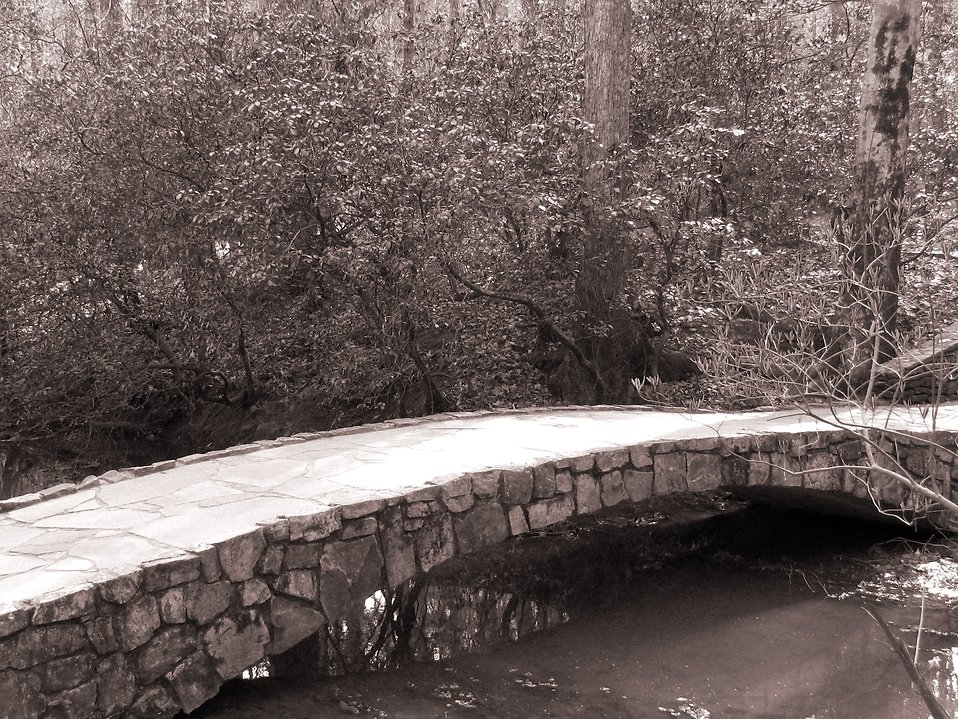 Black and white picture of a small stone bridge : Free Stock Photo