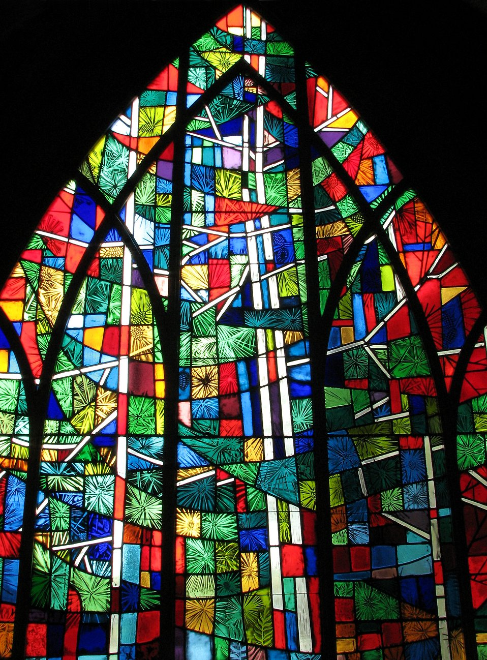 Close-up of a stained glass window.