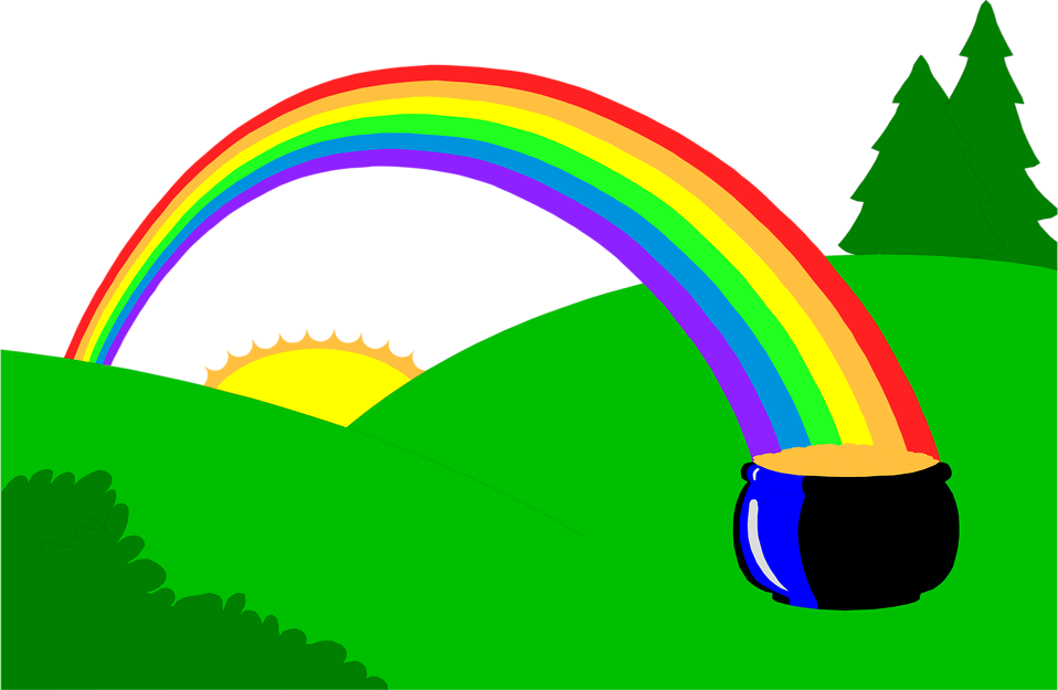 Illustration of a pot of gold at the end of a rainbow : Free Stock Photo