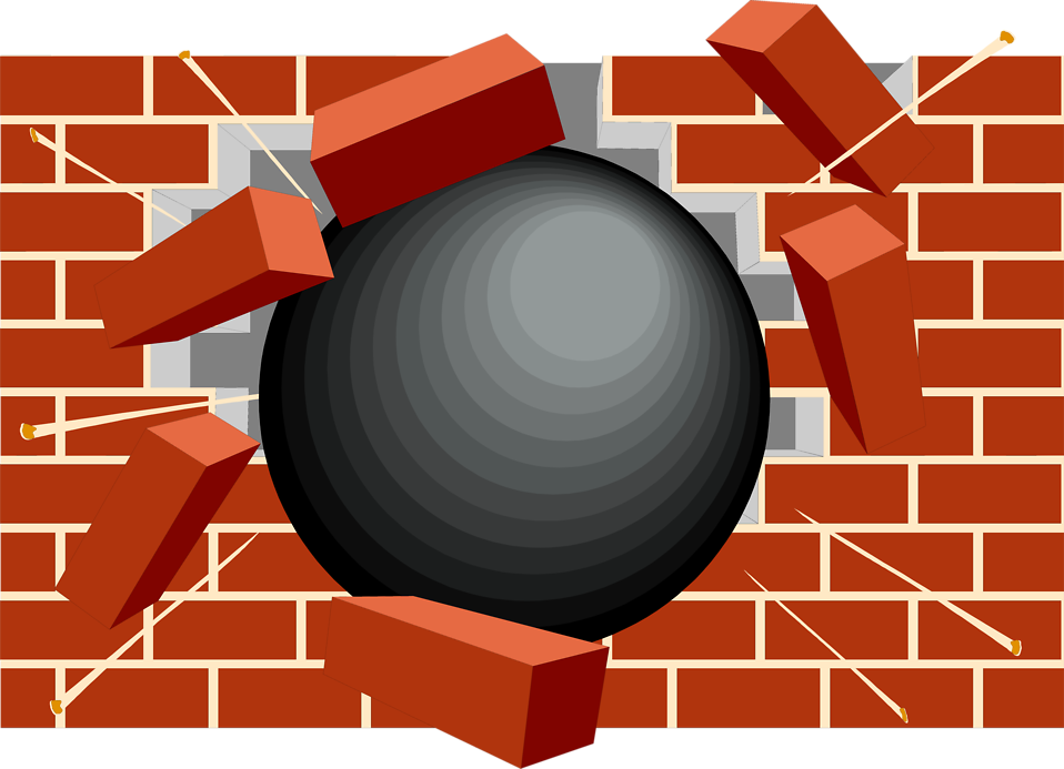 Illustration of black ball smashing through a brick wall : Free Stock Photo