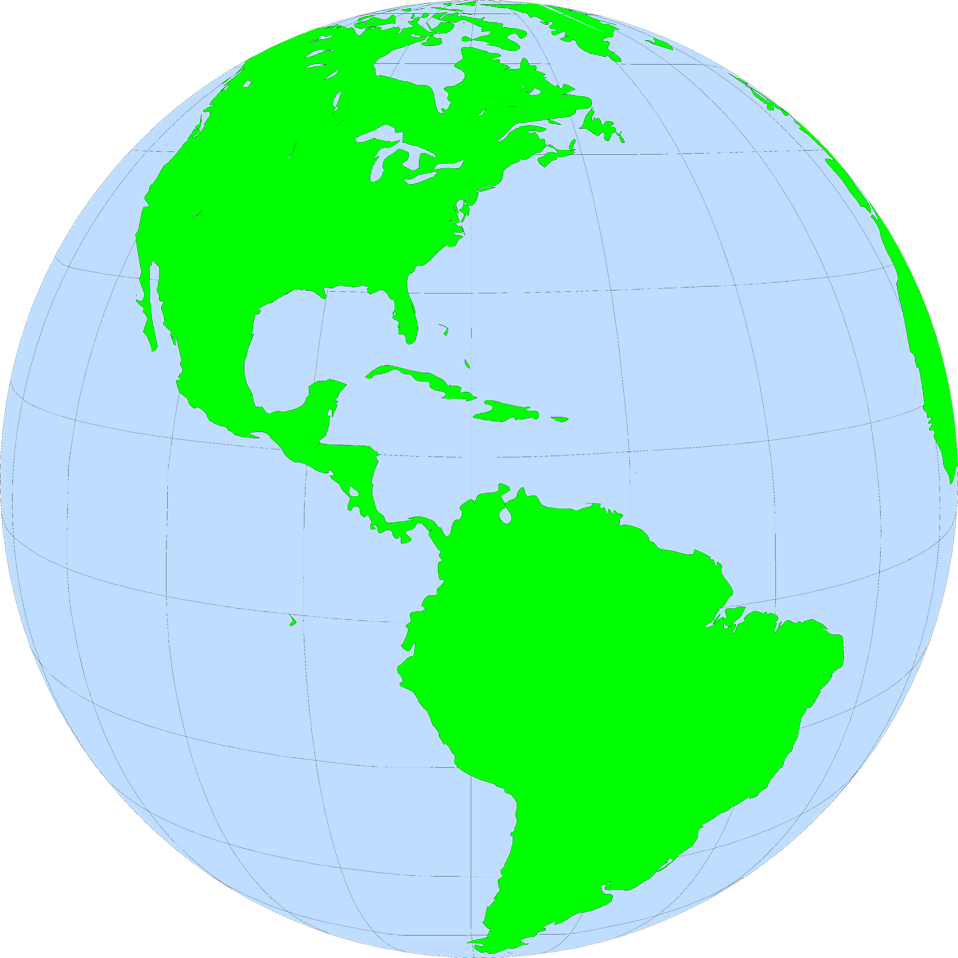 Illustration of a globe showing North and South America : Free Stock Photo