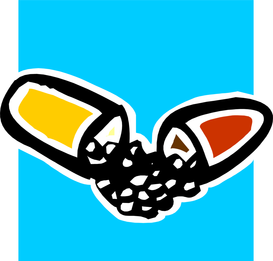 Illustration of a split pill capsule : Free Stock Photo