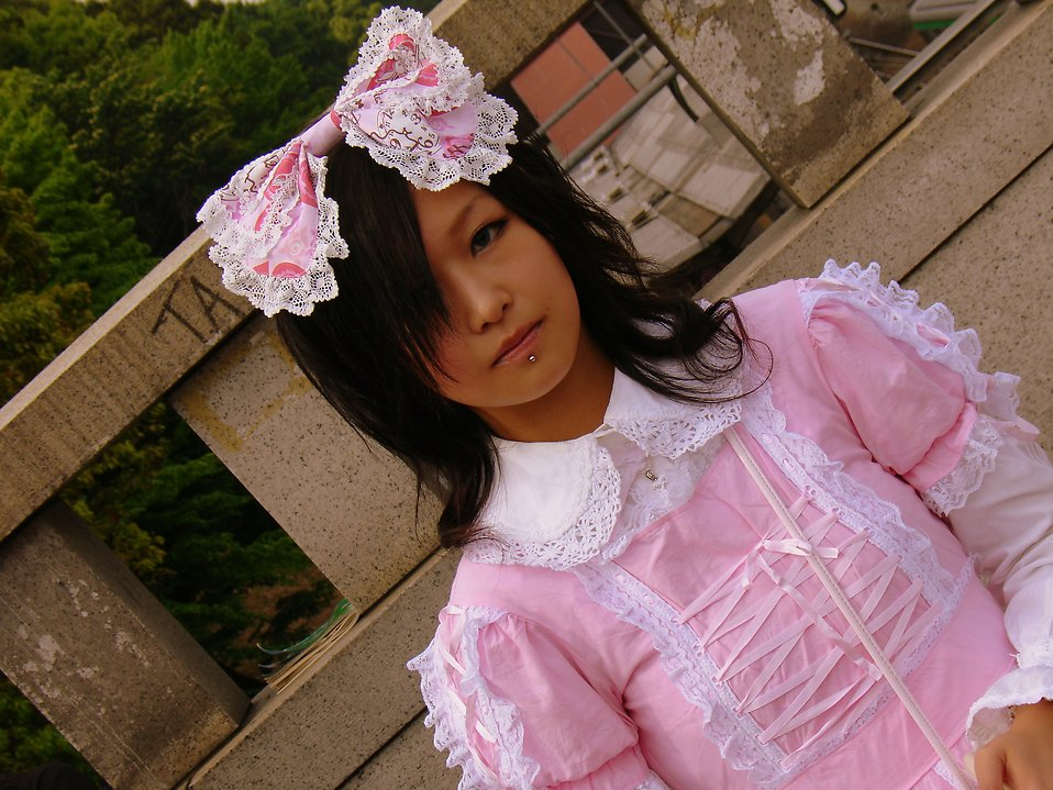 Free Stock Photo: A young Japanese girl dressed in a lolita costume.