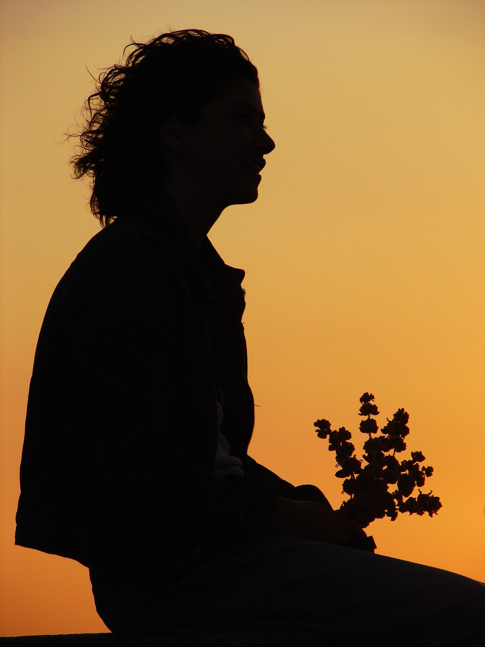Silhouette of a woman holding flowers before a sunset : Free Stock Photo