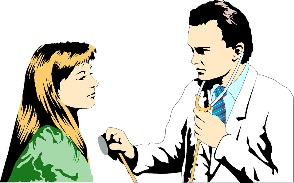 Illustration of a doctor and a young female patient : Free Stock Photo