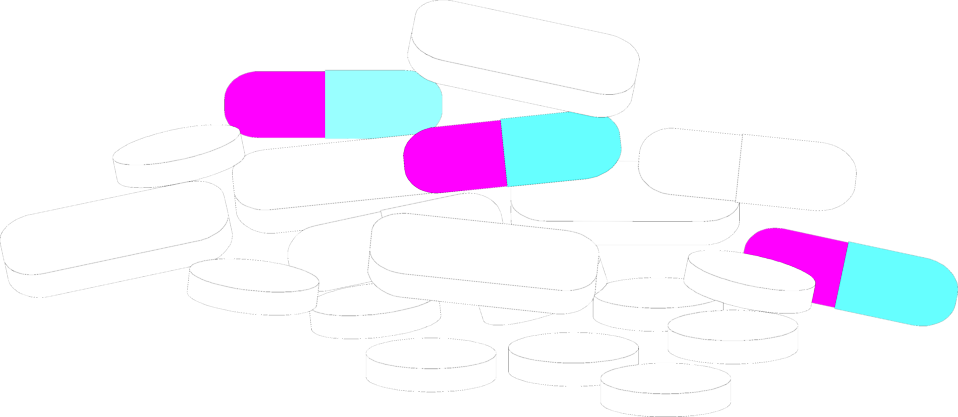 Illustration of various sized pills : Free Stock Photo