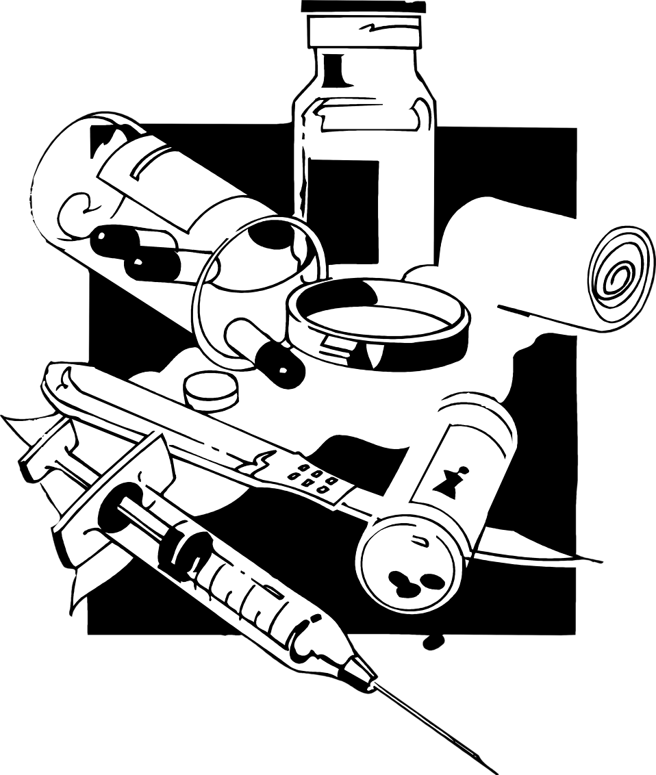 Illustration of syringes and medicine : Free Stock Photo
