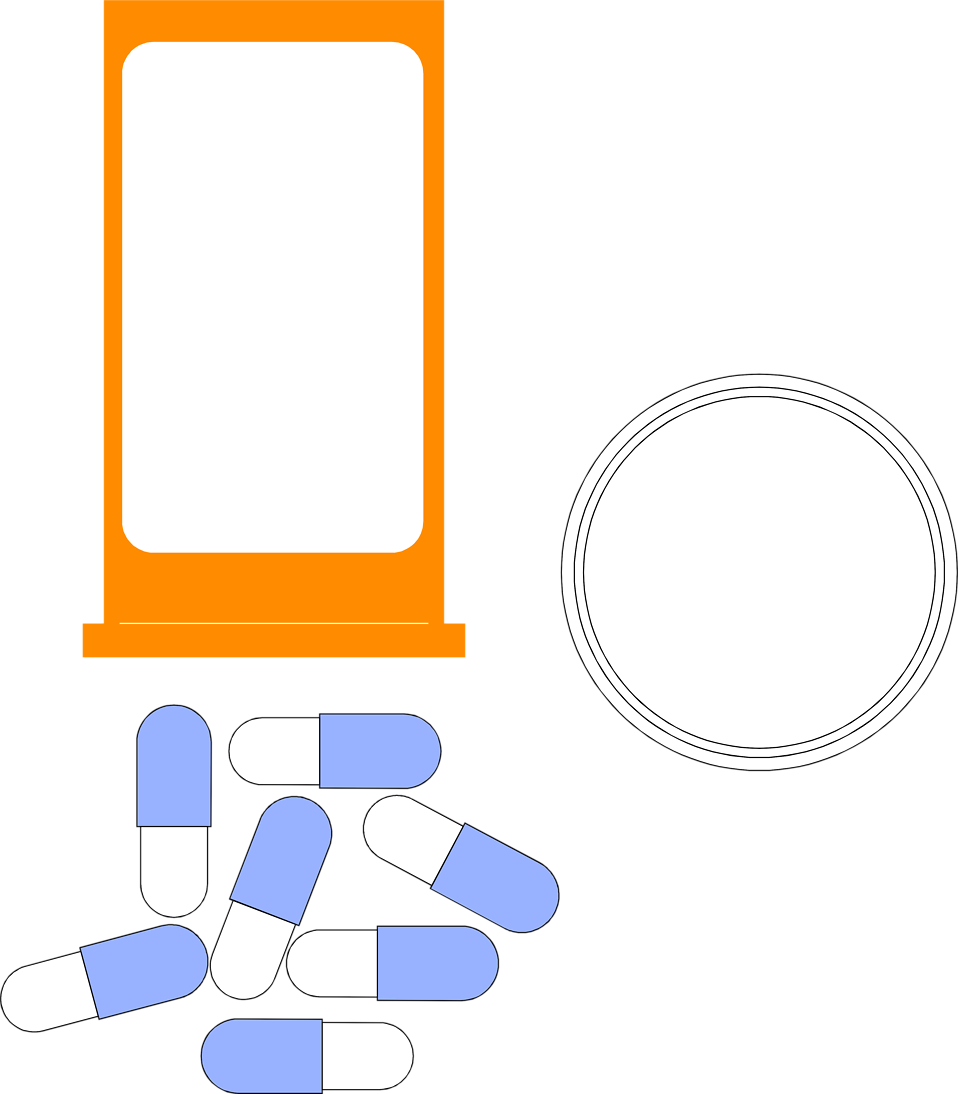 Illustration of a pill bottle and blue and white pills : Free Stock Photo