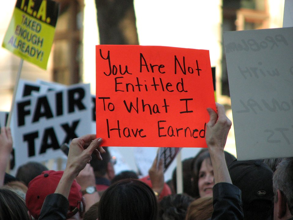 A protest sign at the 2009 tax day tea party in Atlanta, Georgia.