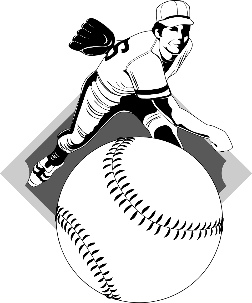 Illustration of a baseball pitcher : Free Stock Photo