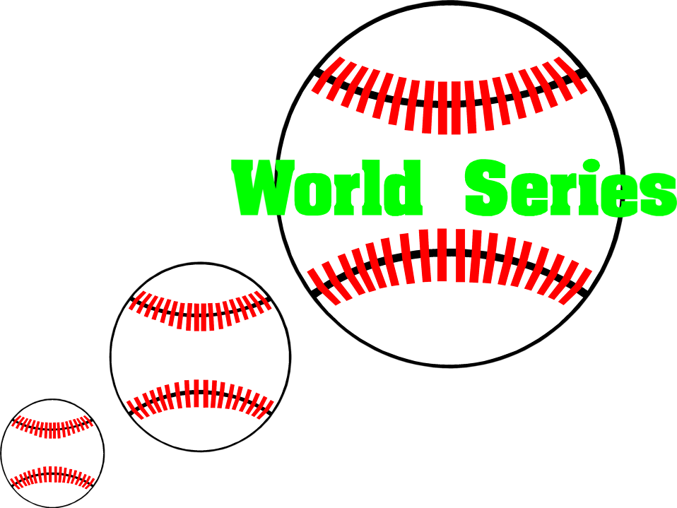 Illustration of baseballs and World Series text : Free Stock Photo