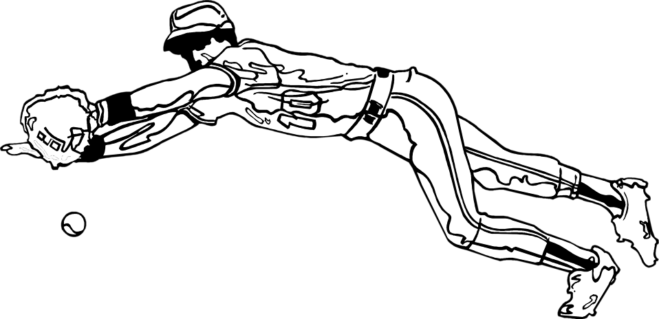 Illustration of a baseball player catching a ball : Free Stock Photo