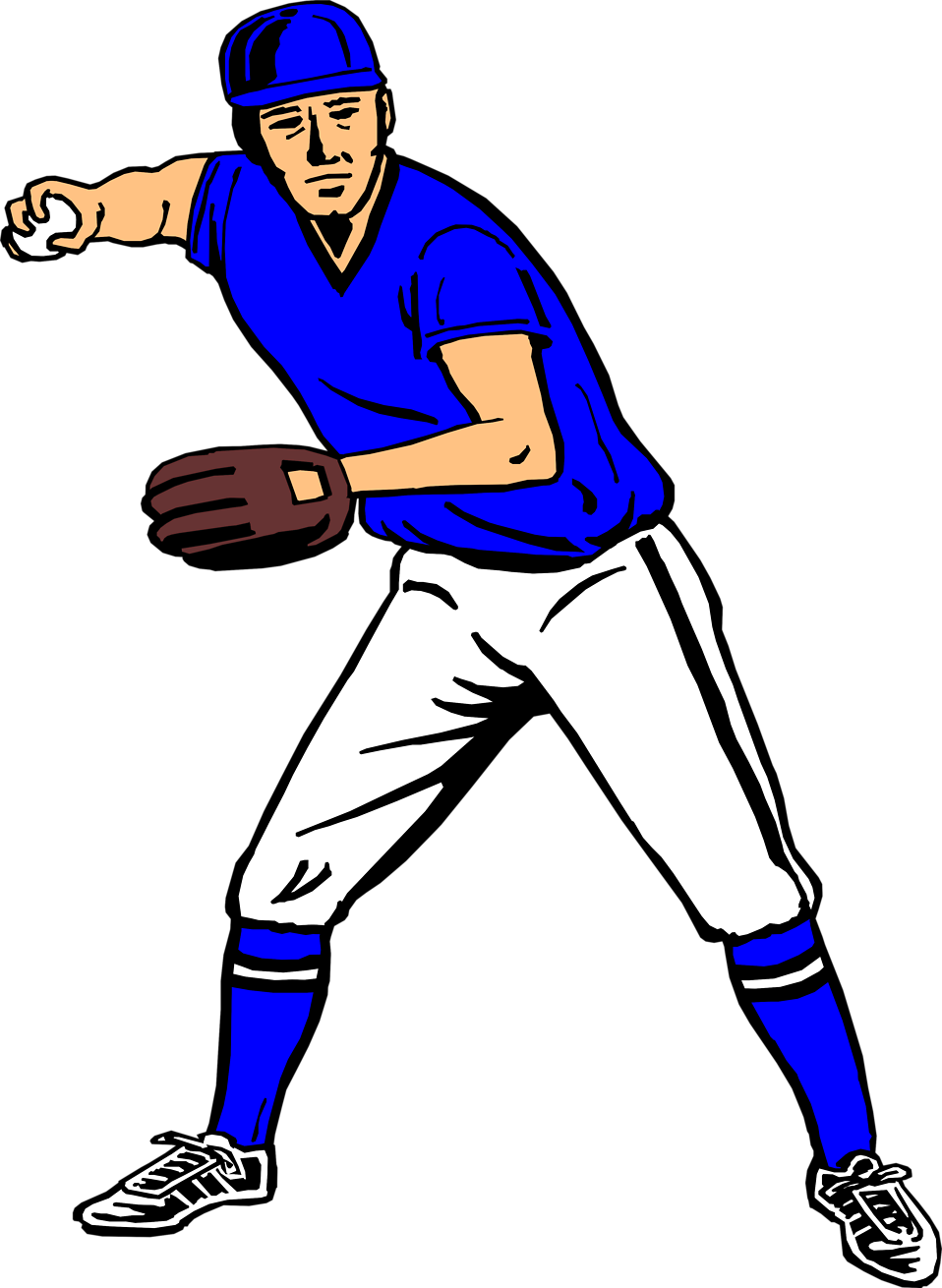 Illustration of a baseball player about to throw a ball : Free Stock Photo
