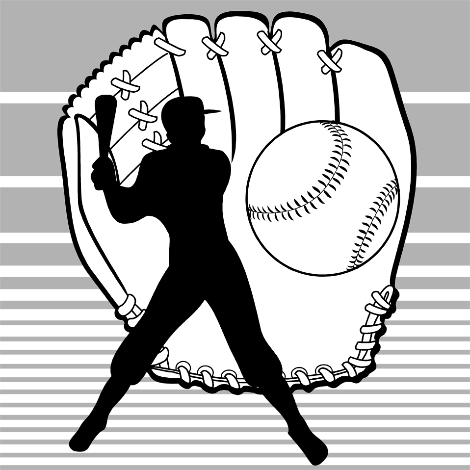 Illustration of baseball equipment and a batter silhouette : Free Stock Photo