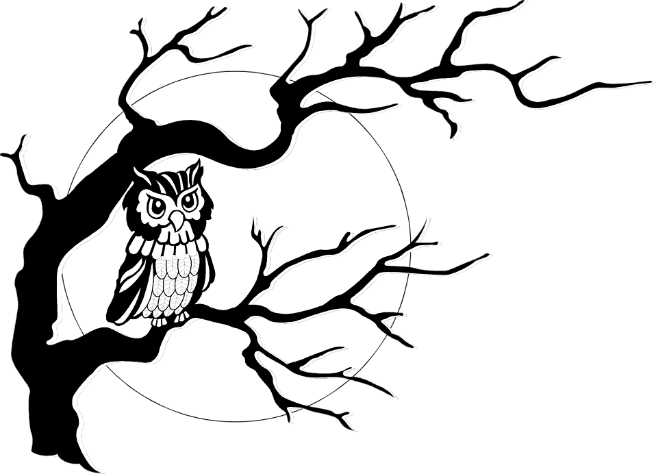 Illustration of an owl in a tree in front of the moon : Free Stock Photo